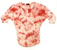 Made By Johnny Womens V Neck 3/4 Sleeve Ruched Tie Dye Drape Dolman Top XL