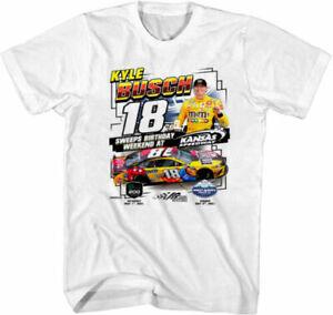 Men's Kyle Busch Checkered Flag White 2021 Buschy McBusch t-Shirt Vintage TK1036
