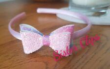 Girls Handmade marmaid & pink glitter bow hair Alice band hair band