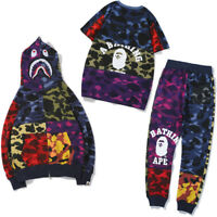 Men BAPE A Bathing Ape Shark Monkey Head Sports Sweat Pants Coat Jacket T-shirt#