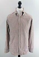 "HUGO BOSS Mens Shirt L Large 41 16"" Grey Orange White Stripes Cotton"