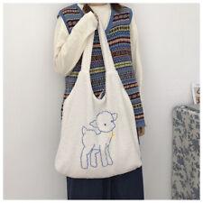 Women Lamb Like Fabric Shoulder Bag Canvas Tote Large Capacity Embroidery Bag