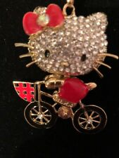 Red Bicycle Enamel Gold Crystals Betsey Johnson Necklace Hello Kitty