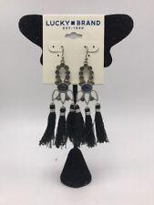 $39 Lucky Brand silver  tone & stone tassel chandelier earrings LC 218