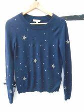 Hobbs navy & silver star pattern wool cashmere jumper size S/8-10