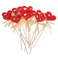 12x Romantic Red Wood Love Heart on Picks with Grass Decor Home Party Decor