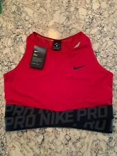 Nike Women's Cropped Top Shirt, Red, Nike Pro Waistband, Size Extra Large, NWT