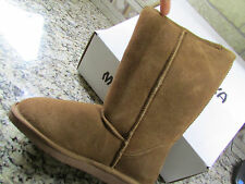 NEW MINNETONKA CALGARY MID SUEDE LEATHER BOOTS WOMENS 11 SHERPA LINED TAN