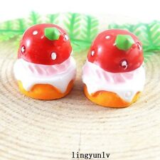 10pcs Colorful Resin Strawberry Cake Flatback Cabochons Jewelry Crafts 51351