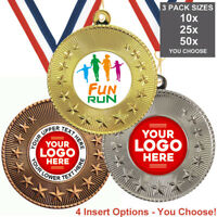 FUN RUN COLOUR RUN METAL MEDALS, PACK OF 10, RIBBONS, INSERTS or OWN LOGO & TEXT