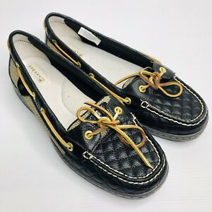 SPERRY 'Top Sider' Size US 9M EU 40 Black Gold Leather Slip On Loafer Boat Shoes