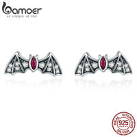 BAMOER S925 Sterling Silver Stud Earrings With AAA CZ Mysterious Bat For Women
