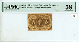 5 CENTS FRACTIONAL CURRENCY FIRST ISSUE PMG AU58 FR-1230 #13