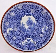 Antique Blue & White Wall Plate Royal Bonn Franz Anton Mehlem Flamand Pat c 1900
