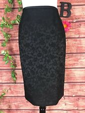 Le Suit Skirt size 10 Black Floral Tapestry Straight Knee Wedding Church Evening