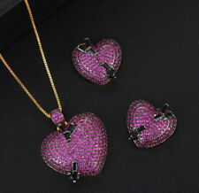 18K Gold GP Heart Pendant Necklace Earrings Set Simulated Pink Topaz Pave Stones