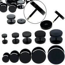 Black Stainless Steel 10x Fake Cheater Ear Plugs Gauge Body Jewelry Pierceing