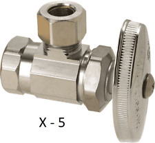 """5 BrassCraft 3/8"""" FIP x 3/8"""" O.D. Compression Angle Stop Valve Lead Free"""