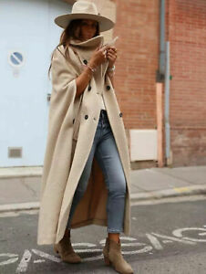 ZARA WOMAN LONG LIMITED EDITION CAPE BUTTONED COAT CAMEL 52% WOOL L 8183/660