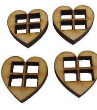 Miniature Heart Windows Set of 4 Fairy, Elf, Hobbit Door.  Accessory Dolls House