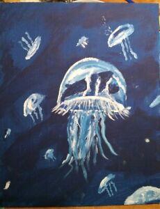 8 x 10 original art jellyfish