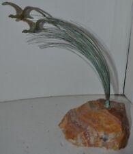 Vintage Stone Rock Brass Bird Duck Figure Paperweight Signed Bijart