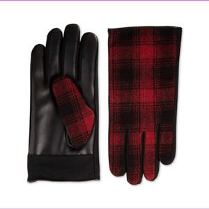 Isotoner Men's Plaid Sleek Heat Touchscreen Faux Leather Driving Gloves Size L