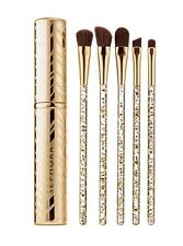 "Sephora ""Glimmer In Her Eye"" Gold & Glitter 5pc Eye Brush Set With Travel Case"