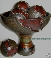 Smith Seas Collection Pedestal Wood Bowl with Spheres!