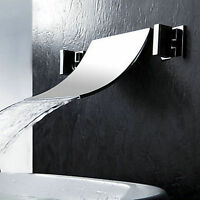 Luxury Waterfall Wall Mounted Bath Basin Sink Mixer tub Tap Chrome Faucet