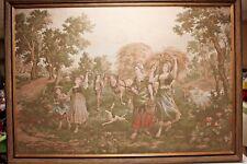 Vintage Tapestry – Framed – Harvest Time – Large Woven Tapestry 41 x 57