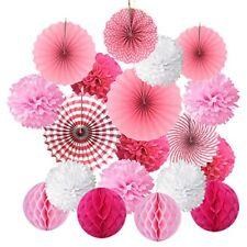 Hanging Paper Fan Set, Cocodeko Tissue Paper Pom Poms Flower Fan and Honeycomb B