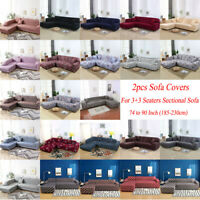 2pcs Sofa Covers Fabric Stretch Slipcovers for 3+3 Seater L Shape Sectional sofa