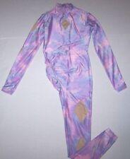 Custom Unitard Long Bodysuit Gymnastics Competition Pink Purple Glitter Girl M#1
