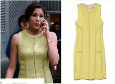 $395 CELEBRITY Rebecca Taylor Yellow Brocade Jacquard Cut-Out Dress ~10 M3020