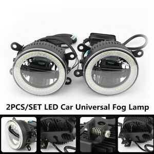 2PCS Car Angel eye Aperture+Daytime Light W/Fog Lamp LED Front Bumper Lighting