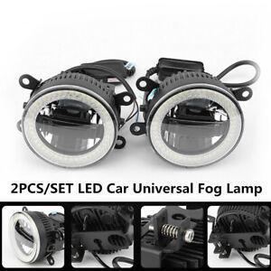 2PCS Car Angel eye Aperture+Daytime Light W/Fog Lamp LED Front Bumper Lighting
