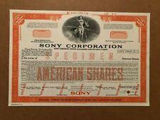 SONY CORPORATION SPECIMEN STOCK CERTIFICATE AMERICAN SHARES 1974 SCARCE !!