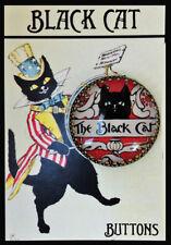"BLACK CAT MAGAZINE Glass Dome STUDIO Filigree BUTTON Large 1 1/4"" VINTAGE ART"