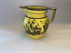 Staffordshire Canary Yellow Pitcher Ship Success To Shipping Trade Industry 1820