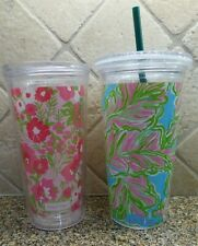 LOT 2 Lilly Pulitzer Insulated Tumbler Cup+Straw EUC Pink Floral+Palm Tree Print