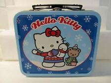 "2000 Sweet Hello Kitty Blue Tin Lunchbox Winter Holiday Christmas 5.5"" x 5"" x 2"""