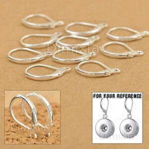 925 Sterling Silver Stamped Earring Leverback Finding Huggie Loop Round OpenRing