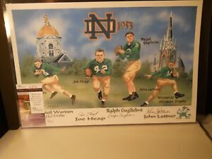 Johnny Lattner Signed 1953 NOTRE DAME Litho w/ Worden/Heap/Guglielmi SIG'S(JSA)