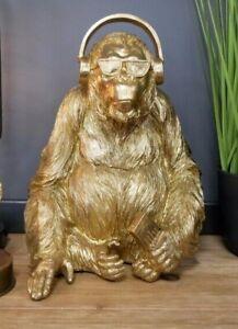 Golden Funky Orangutan With Headphones - Stylish Figurine - Cool Ornament