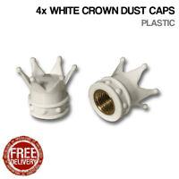 4x White Crown Car Bike Motorcycle BMX Wheel Tyre Valve Plastic Dust Caps