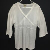 ExOfficio Womens Large Savvy Dia 3/4 Sleeve Shirt Swim Cover Up White Side Slits