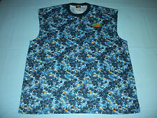 Ironman Triathlon Blue Hawaiian Floral Print Tank Top Sleeveless T-Shirt Duofold