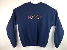 VTG Mickey & Co Men's Navy Disney Mickey Mouse Spell Out Crewneck Sweater Sz XL