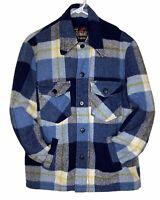 Vtg Sears Outerwear Jacket 40R Flannel Coat Plaid Wool Blend 70s Folklore Retro